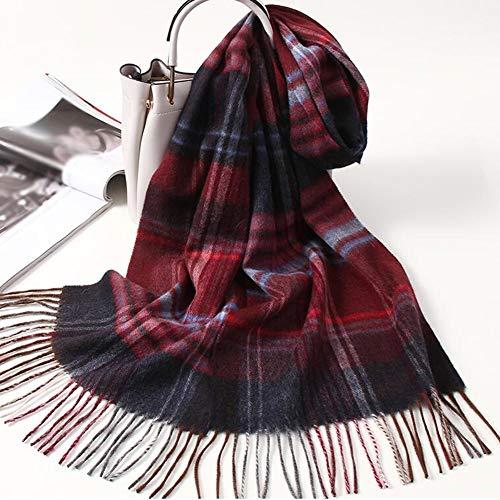 BNXTF sjaal, winterlange zachte warme Schotse ruiten sjaal wol kwast sjaal lange verpakking 100% wol
