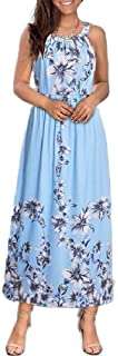 XINHEO Womens Floral Design Bowknot Sleeveless Beach Tank Dresses