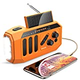 【2021 Newest】 Emergency Radio, 5000mAh Hand Crank Solar Weather Radio, NOAA/AM/FM Portable Radio with LED Flashlight&Reading Lamp, USB Cell Phone Power Charger, SOS Alarm for Home, Camping&Survival