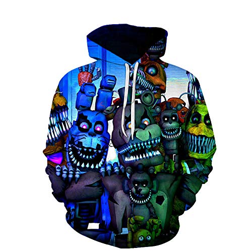 QRTU Unisex Five Nights at Freddy'S Nio Nia Adolescente Juventud 3D Capucha Sudadera Jersey Suter con Capucha Pull-Over-Cool_2XS