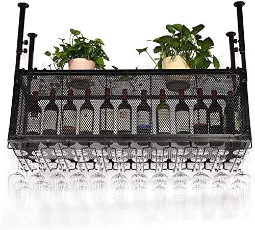 Wine Glass Holder Black Alloy Plating Process Upside Down Creative decoratieve Frame Goblet Rack Opknoping wijn Glas Hanger rek van de wijn (尺寸 Grootte: 60 * 35cm) WKY (Size : 100 * 35cm)