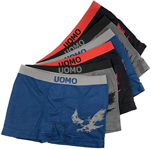 Laake 6 Stück Jungen Boxershorts Unterhosen Microfaser Retro-Pants Jungenshorts Schlüpfer Uomo Unifarben Sport (Adler-02, 128-140)