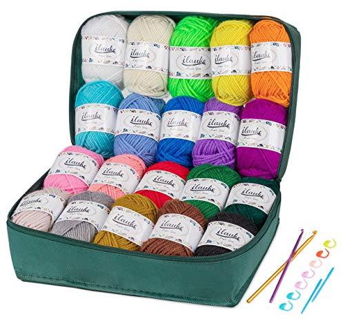 ilauke Häkelgarn 20 Farben * 30g Handstrickgarne Acryl Wolle Zum Stricken, Häkeln und Kunsthandwerk