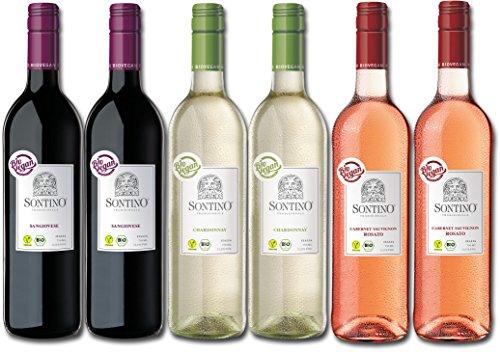 Sontino Mediterranes Bio Probierpaket Italien (6 x 0.75 l) - BioVegan - Weinset aus Italien