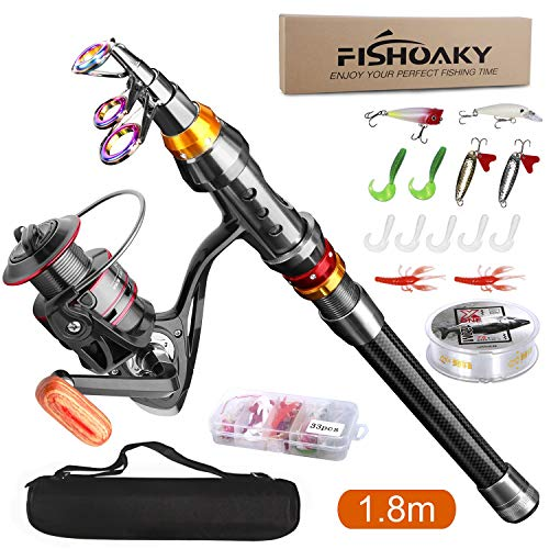 FISHOAKY Telescopic Fishing Rod, 2.1M Carbon Fiber Telescopic Spinning Fishing Pole for Saltwater &...