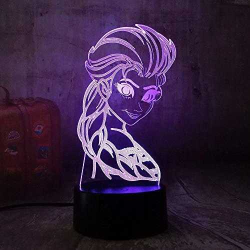 3D Illusion Lampe Led Veilleuse Belle Elsa Reine 7 Changement de Couleur Belle Table De Bureau Chambre Décor Bébé Enfant Kid Jouet Cadeau De Noël