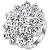 SaySure - Multicolor Flower Engagement Rings -
