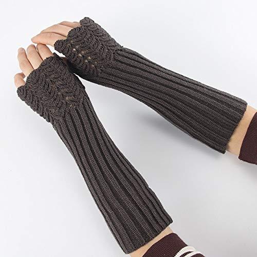 GUANAI Guante Invierno Mujer Mangas Largas Mitones Sólido Suave Más Grueso Acrílico Cálido Estiramiento Tejido Medio Dedo Brazo Sin Dedos Calentadores Guantes