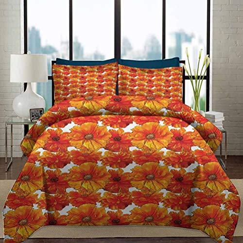 Orange Bedding Duvet Cover Set Twin Size Big Flourishing Bohemian Poppies on the Antique Background Graphic Design Decorative 3 Piece Bedding Set with 2 Pillow Shams for Kids Burnt Orange White
