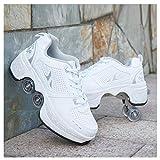 女の子と女性のためのクワッドローラースケート、変形ローラースケート4輪多目的靴、子供のための屋内/屋外レースアップ楽しいローラースケート,35
