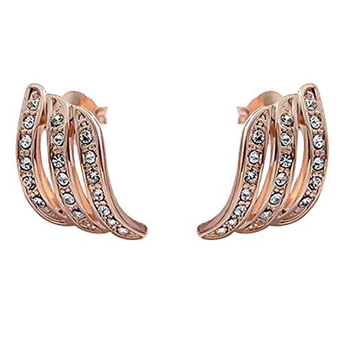 OverDose Pendientes Minimalistas Pendientes De Tuerca Con Incrustaciones De Diamantes En Oro Rosa Para Mujer Joyería De Boda Pendientes Novia