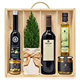 Lote Gourmet Regalo Navidad Terra con arbolito navideño, AOVE, crema de aceitunas, condimento de romero y aceitunas Campo Real en caja de madera con tapa y asa