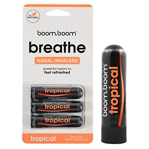 BoomBoom Inhalador nasal de aromaterapia (aumenta el enfoque y mejora la respiración) proporciona una sensación fresca y refrescante con aceites esenciales y mentol Paquete de 3 Fiebre tropica