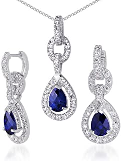2 Ext. Sterling Silver Purple Color Teardrop /& Clear Round CZ Earring /& Necklace Set 16