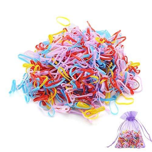 SENDILI Elastique Cheveux - 1000 Pièces Bands Elastiques à Cheveux Multicolore et Simple en Caoutchouc Bandeaux Cheveux Accessoire, Mixte 02-rouge, 1000 pièces/pack