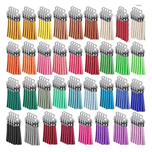 Fait Adolph 140 unids Colores Mixtos Llavero de Cuero Tassels Bulk Acrílico Llavero Llavero Espacio en Blanco Encantos Pendientes Pulseras y Joyería Fabricación (Color : Random)