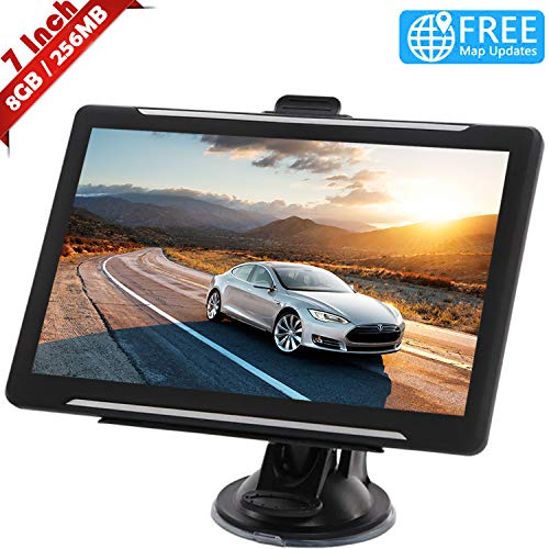 Topnaca GPS Navi Navigation für Auto, LKW PKW Touchscreen 7 Zoll 8G 256M Sprachführung Blitzerwarnung mit POI Lebenslang Kostenloses Kartenupdate Navigationsgerät Fahrspurassistent EU UK 2020