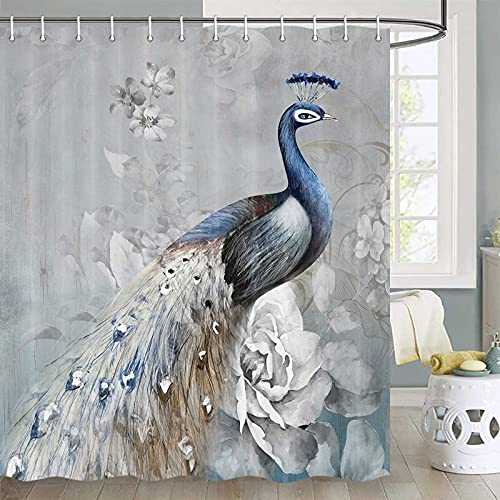 Peacock Shower Curtain, Tropics Wildlife Animal Peacock Shower Curtain, Grey Shower Curtain Bathroom Decor, Polyester Fabric Waterproof Shower Curtain, 70X70 in, Shower Curtains Hooks Included