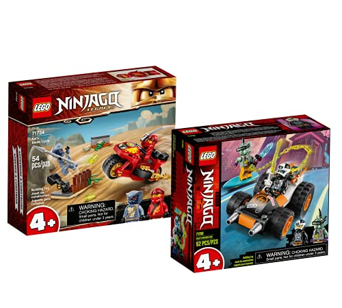 Lego Set - Ninjago Kais Feuer-Bike 71734 + Ninjago Coles Speeder 71706, Geschenkset ab 4 Jahren