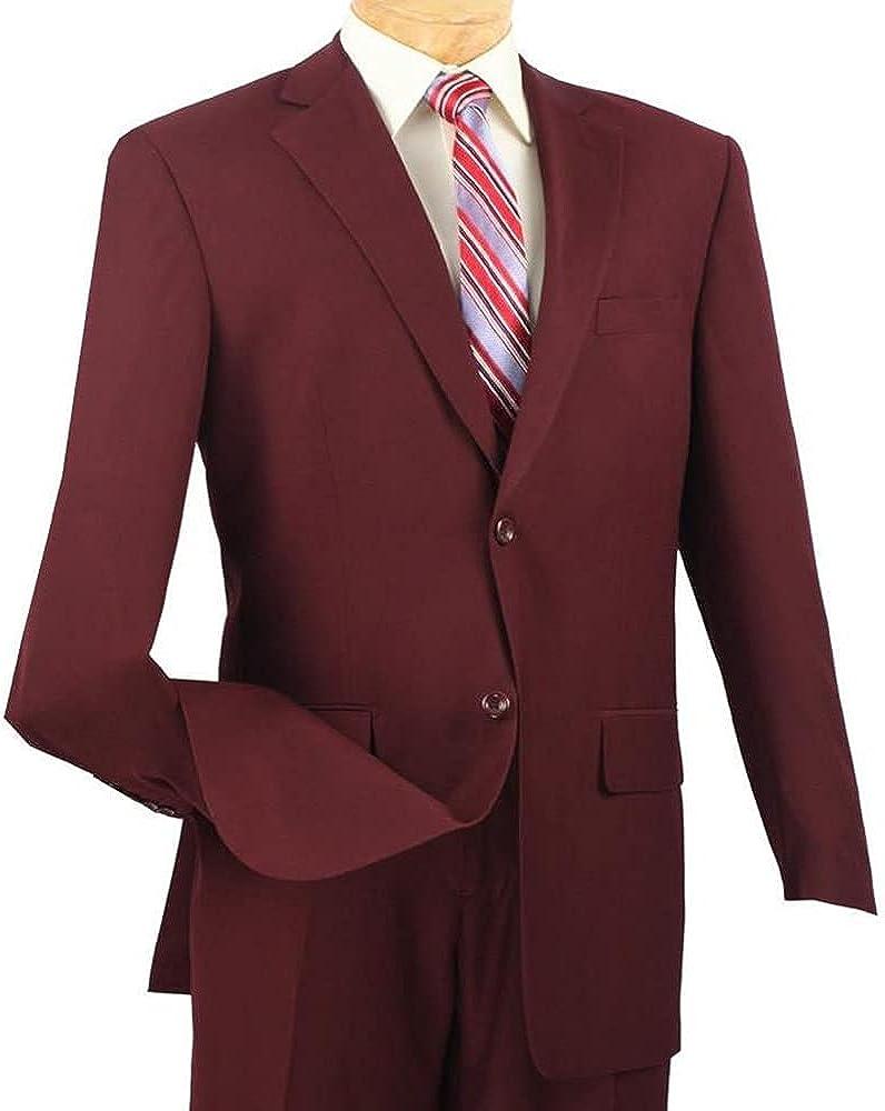 Men's Dress Suit Regular Fit 2 Piece 2 Button Textured Weave Burgundy