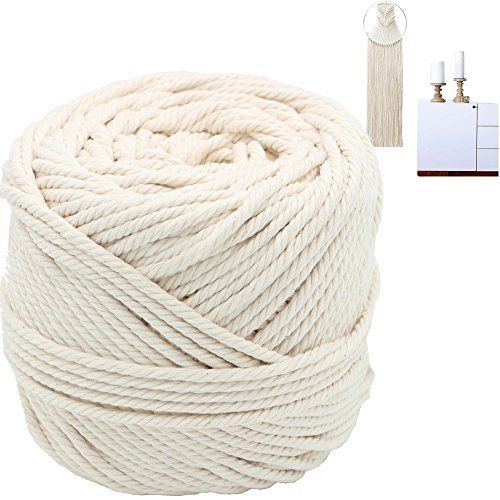 Macrame Cord 4mm X 100m(109 yd) 4 PLY Natural Virgin Cotton Natural Color Macrame Wall Hanging Plant Hanger Macrame Swing Chair Boho Dream Catcher DIY Craft Making Knitting Rope 3mm 4mm 5mm (4mm)