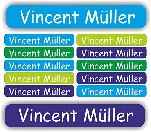 INDIGOS UG® 54 Namensaufkleber - Etiketten Mini - 40x6mm - für Kinder Schule Kindergarten Stifte, Federmappe Lineale individueller Aufdruck Markieren von Gegenständen personalisiert Aufkleber Namen