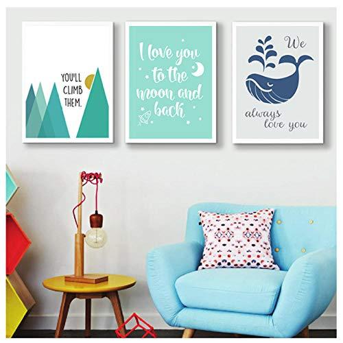 Afdrukken Op Doek Ik hou van U naar De Maan en Terug Kwekerij Decor Canvas Schilderij Posters en Prints Muurkunst Foto's voor Kinderen Kamer 40 * 50cm Geen Frame