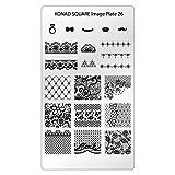 KONAD Placa de Diseños Rectangular 26 para Estampado de Uñas