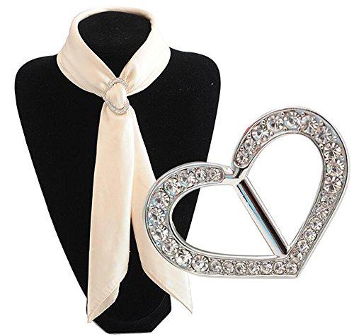 Sciarpe di lusso alla moda in metallo con strass e fibbia in seta Sarf clip per abbigliamento,...