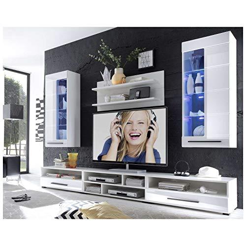 Wohnwand mit LED Beleuchtung in Weiß Bild 2*