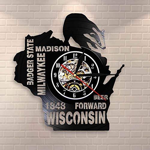 Reloj de pared con diseño con texto en inglés 'I love Wisconsin Badger State Beer para pared, diseño de milwaykee Madison
