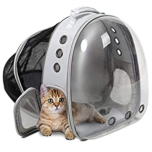 ZolooPet Expandable Cat Backpack Carrier, Expandable Capsule Pet Carrier for Cats and Dogs, Up to 15 Lbs, Space Capsule Transparent Clear Bubble Pet Carrying Hiking Traveling Backpack