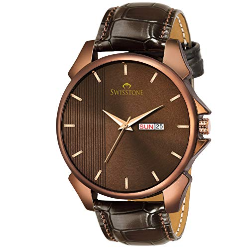 SWISSTONE Analogue Men's Watch (Brown Dial Brown Colored Strap)