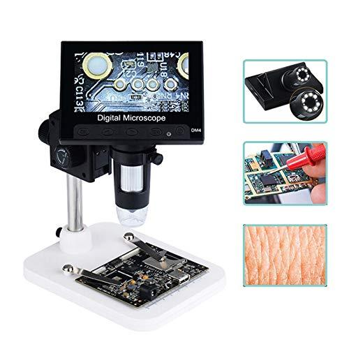 LIMEI-ZEN 1000X Digital Electron Microscope USB Interface Digital Microscope Portable 8 LED Microscope 4.3 Inch DM4 Screen Welding Reading (Magnification : Screen Microscope)