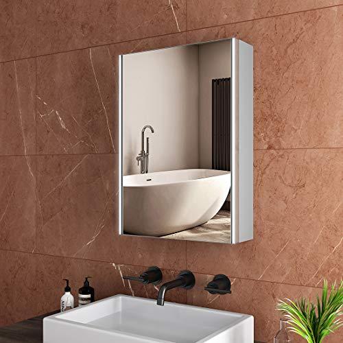 Safeni LED Spiegelschrank, 50x70x15cm Badezimmer Spiegelschrank mit Beleuchtung Lichtspiegelschrank+Bluetooth+Sensor Schalter+Innen- und Außenspiegel