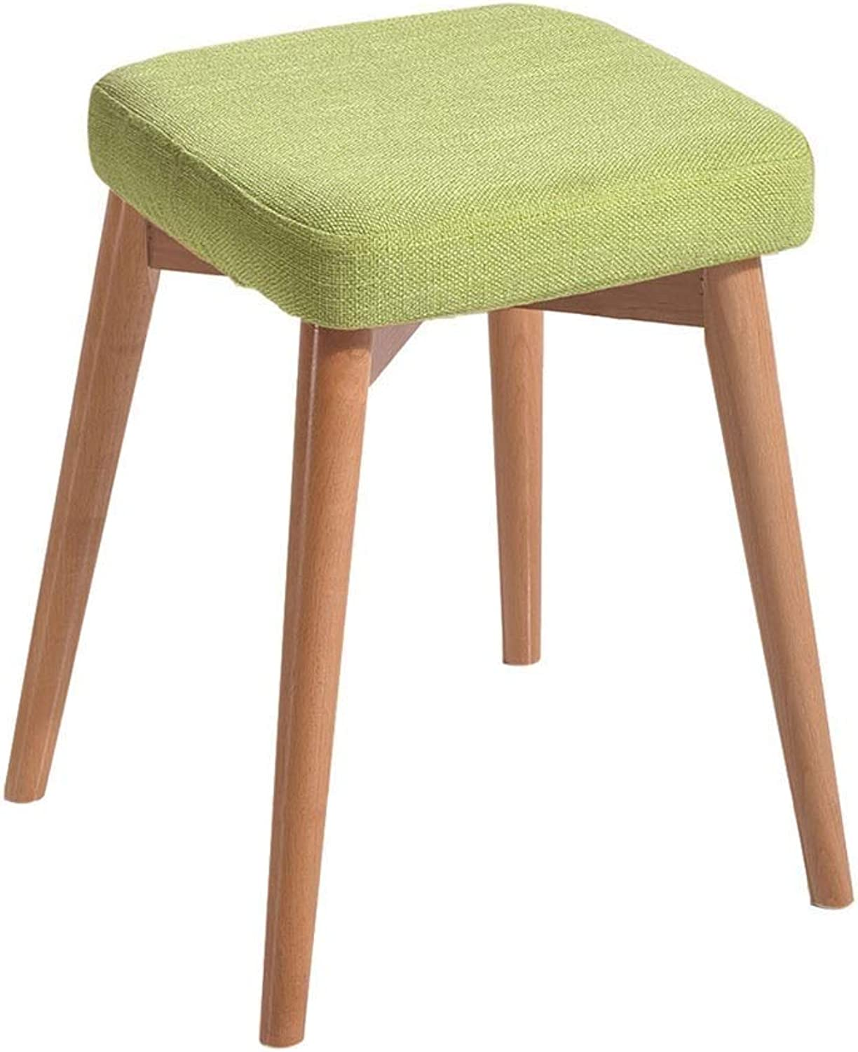 Household Dressing Stool Upholstered Solid Wood Stool Nordic Creative Bench for Living Room Bathroom Kitchen HENGXIAO (color   Green)