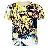 WSQQT T-Shirts,Anime Dragon Ball Ademend 3D Zomer T-Shirts Mannen Unisex Korte Mouw Kleur Mengen L.