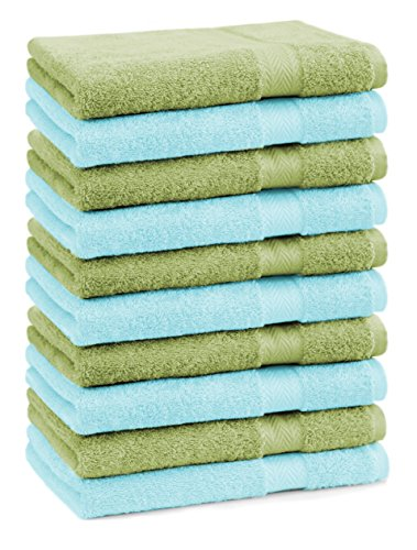 Betz Lot de 10 Serviettes débarbouillettes lavettes Taille 30x30 cm 100% Coton Premium Couleur Vert Pomme et Turquoise