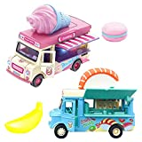 AI-Fun 2 Pack Magnetic Induction Light and Music Alloy Pull Back Car,Die Cast Food Truck with Sushi, Banana, ice Cream, Macarons Pretend Food Toys Friction Alloy Car Toy