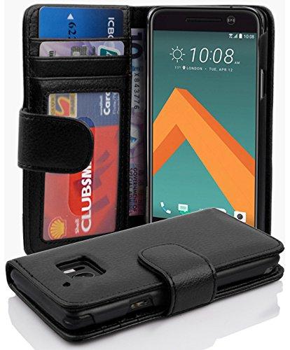 Cadorabo Hülle für HTC 10 (One M10) - Hülle in Oxid SCHWARZ – Handyhülle mit 3 Kartenfächern - Hülle Cover Schutzhülle Etui Tasche Book Klapp Style