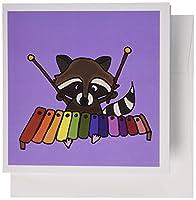 3dRose 楽しいアライグマ 木琴 グリーティングカード 6枚セット (gc_200457_1)