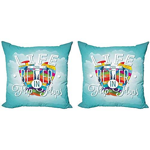 July Diciendo Throw Pillow Case, la Vida es Mejor en Chanclas Palabras de Verano con Zapatillas Rainbow Toned en el Cielo