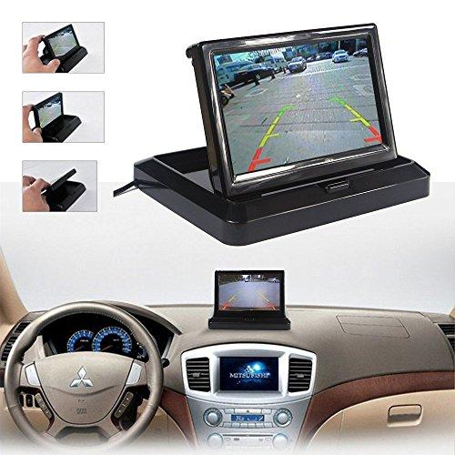 ROGUCI DAX TFT 5Zoll / 12,7 cm LCD-Monitor + Rückfahrkamera mit Einer doppelten Kfz-Funktion, 16:9hoch auflösende Kamera, Monitor, Rückspiegel, Auto