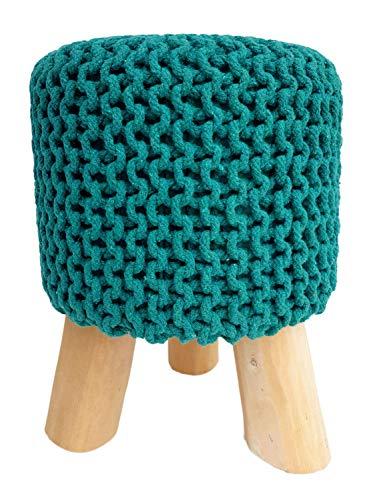 Sitzhocker Strick-Hocker Pouf Schemel mit Holzfüßen Ø 35 cm Höhe 45 cm Farbe grün