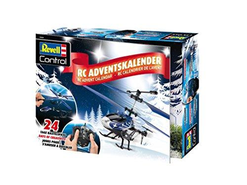 Revell Control 01015 RC Adventskalender Hubschrauber, ferngesteuerter RC Helikopter für Einsteiger zum Selberbauen, 2,4 GHz Fernsteuerung mit stabilem Metall-Chassis, USB Ladegerät, Gyro