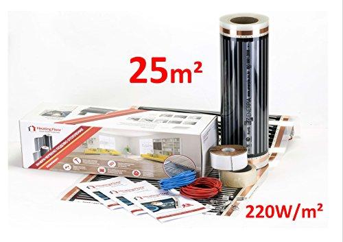 Heating floor - 25m2 Fußbodenheizung Set Elektrische Infrarot Heizfolie für Laminat & Parkett 220W/m2