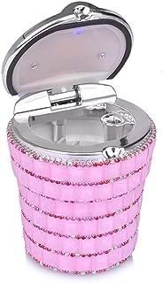 kiwilife Car Ashtray Diamond Bling Car Cigarette Ashtray with Blue LED Light Smokeless Stand Cylinder Cup Holder (Pink)