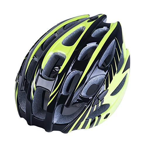 Almencla Casco de Ciclismo Mountain Road MTB Casco Ligero Ciclismo Desplazamientos Crash Hat - Amarillo, 57 hasta 62cm