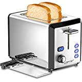 2 Slice Toaster, LOFTER Mirror Stainless Steel Toaster Extra Wide Slots Toasters with 6 Shade...