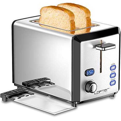 2 Slice Toaster, Stainless Steel Body & Extra Wide Slots with 6 Shade Settings, Prime Rated Toasters with LED Display, Removable Crumb Tray, Defrost/Reheat/Cancel Function, 800W, Silver